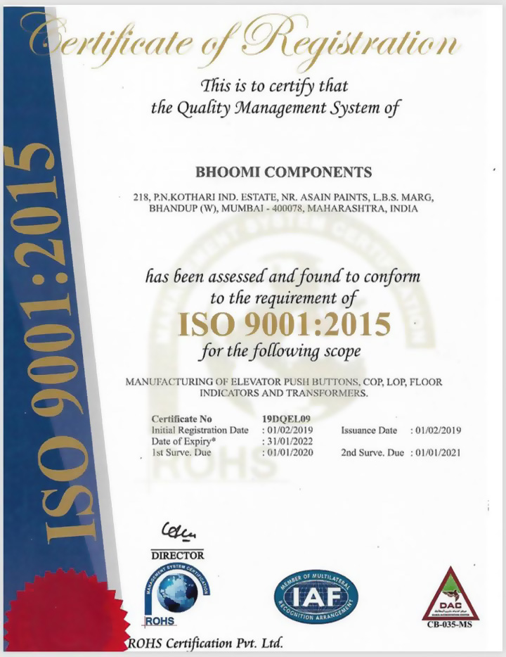 Bhoomi Components Certificate of Registration